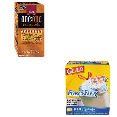 kitcox70427mla75424-value-kit-melitta-oneone-coffee-pods-mla75424-and-glad-forceflex-tall-kitchen-dr