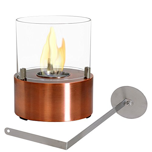 Sunnydaze Tre Poli Tabletop Fireplace, Indoor Ventless Bio Ethanol Fire Pit, Long Lasting Burn Time, Copper ()