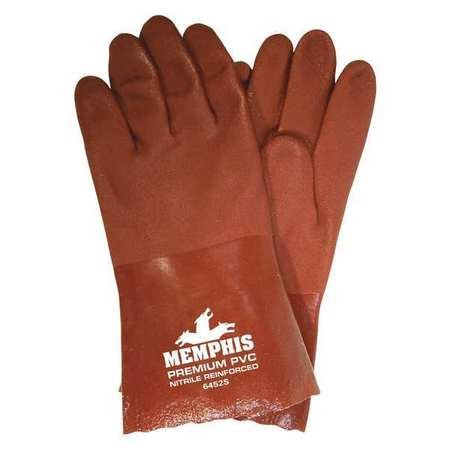Chemical Resistant PVC Gloves, L, Red, Sandy, 12 pk.