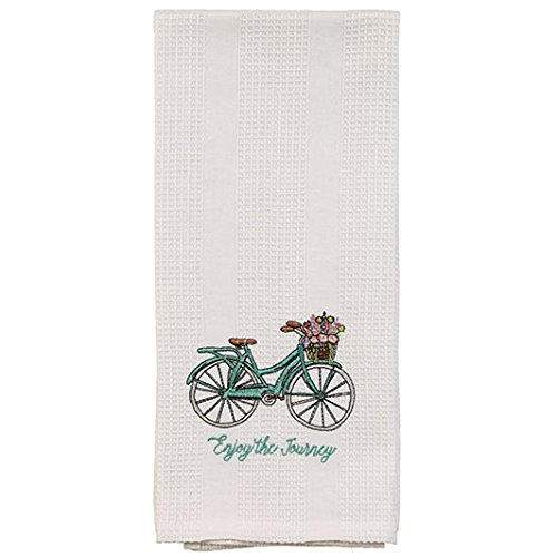 White Enjoy the Journey Teal Bicycle Basket 19 x 28 Inch Embroidered Cotton Waffle Dish Towel