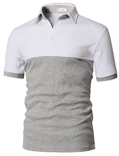 H2H Mens Casual Blocked Point Short Sleeve Cotton Polo T-Shirts White US L/Asia XL ()