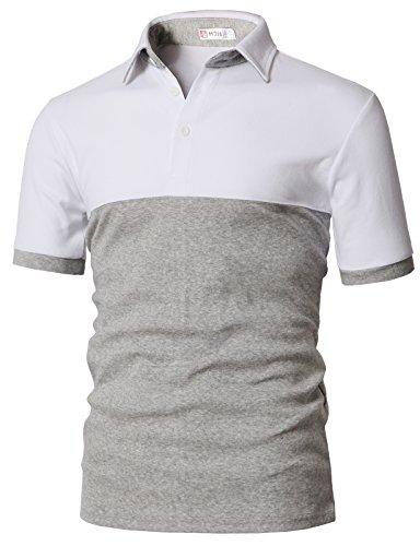 Athletic Pique Sport Shirt - H2H Mens Athletic Polo T-Shirts White US M/Asia L (KMTTS0554)