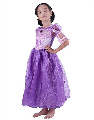 HDE Girls Princess Dress Halloween Costume Sparkling Purple Satin Ball Gown - Pretty In Pink Movie Dress Costume