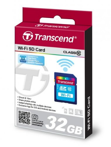 Transcend 32 GB Wi-Fi SDHC Class 10 Memory Card (TS32GWSDHC10) (Wifi Sd Card For Android)