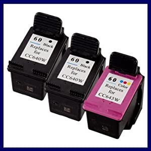 Remanufactured Ink Cartridge Replacement for HP 60 Black HP 60 Color CC640WN CC643WN (2 Black 1 Color) 3 Pack