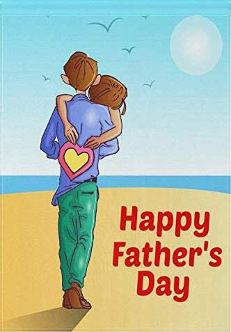 (ALAZA Happy Father's Day Double Sided Garden Yard Flag 12 x 18 Inch, Dad's Hug Love Super Dad Greeting Dad's Holiday Beach House Flags Banners for Home Outdoor Decor, Fathers Day Gifts)