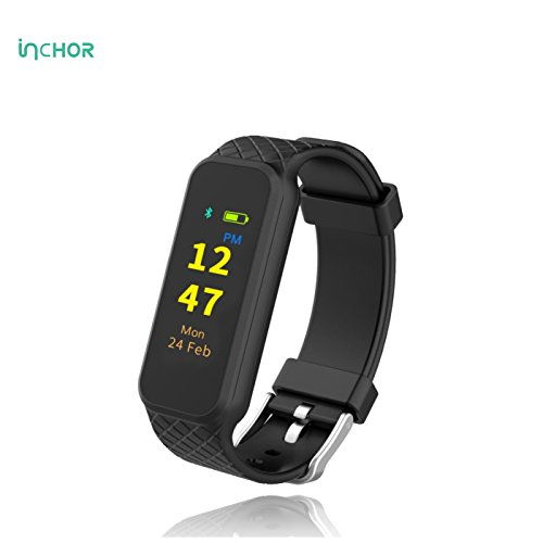 InChor Smart Bracelet IP67 Waterproof Colorful OLED Touchscreen Menu Display Fitness Tracker Bluetooth 4.0 (Black)