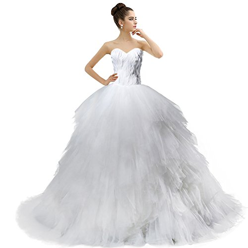 Bridal Gown White Tulle Feather Wedding Dress Aurora Sweetheart Ball UqZ41xwUdX