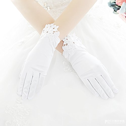 Linabridal Women's Vintage Lace Wrist Short Length Bridal Wedding Gloves FYT01WT-White (Glove Vintage White)