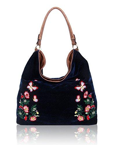 SwankySwans - Daria Velvet Reversible Bag, Borse a spalla Donna Blu (Navy)