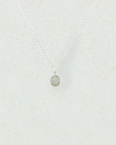 SIVALYA TWINKLE White Druzy | Drusy Necklace in 925 Sterling Silver, Polished Finish in Solid Silver, Great Gift for Her (Necklace White Twinkle)