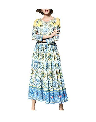 da Oudan Mostrato Maniche Lunghe Floreale Elegante Abito Stampato Vestito Cerimonia Lungo con Donna Donna Come IxP6qIwrF