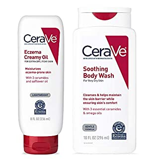 CeraVe Eczema Daily Skin Care Set | Contains CeraVe Body Wash and Creamy Body Oil for Eczema | Fragrance Free