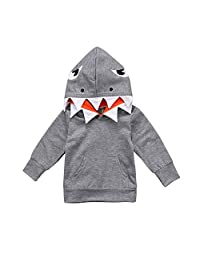 Toddler Baby Boys Girls Kids Winter Coat Cuekondy Fashion Shark Hooded Sweatshirt Tops with Pocket for 1-4 Years Old