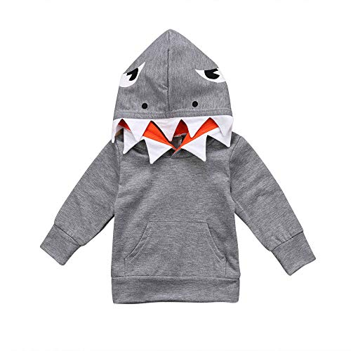 Clearance Cartoon Shark Hooded Top for Toddler Long Sleeves Sweatshirt for 18 Months-4T (4 T, -