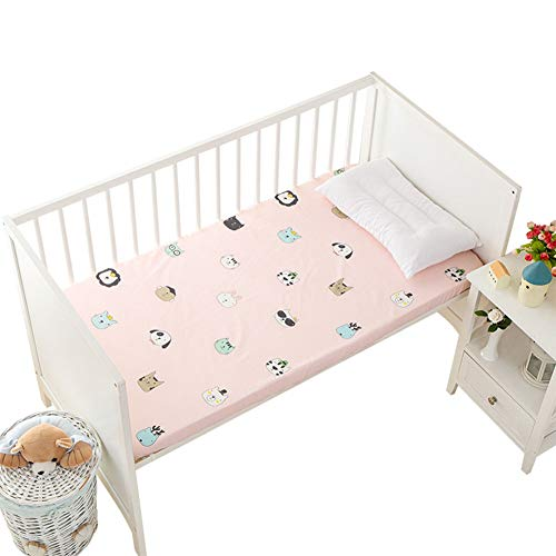 Long-Staple Cotton Fitted Crib Sheets, in Pink with Cute Cat Dog Bear Lion Animals Pattern, Top Quality Nursery Bedding for Boy or Girl, Ideal Baby Shower Gift 28