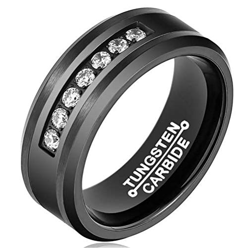 Mens Black 8mm Tungsten Carbide Ring Vintage Cubic Zirconia Wedding Jewelry Engagement Promise Band for Him Matte Finish Comfort Fit Size ()