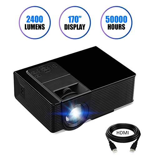 """Projector, KUAK Mini Projector 2400 Lumens 170"""" Display, Portable Multimedia Home Theater LED Video Projector Support HD 1080P HDMI VGA USB SD AV TV for Smartphone Laptop Fire TV Stick etc,HT50 Black"""