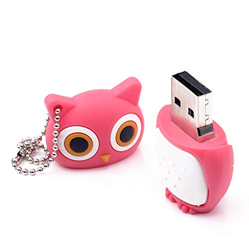 BullkerDirect Creative Cute Owl USB 2.0 Flash Drive Memory Stick Thumb Drive Data Storage Jump Drive Business for Students,Office,Company - Pink 128mb