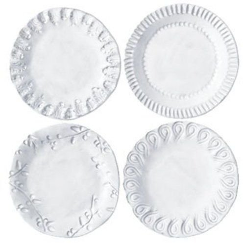 (Vietri INC-1119 Incanto Assorted Canape Plates, White)