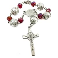St Benedict Red Crystal Beads Rosary Auto Mirror Rearview Car Rosaries Catholic Cross NR Medal