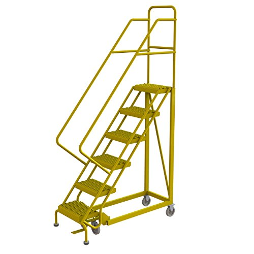 Tri-Arc KDEC106162-Y 6-Step Forward Descent Safety Angle Steel Rolling Industrial and Warehouse Ladder with Grip Strut Tread, 16