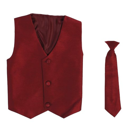 Vest and Clip On Baby Boy Necktie set - BURGUNDY - S/M (0-12 Months)