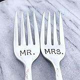 MR & MRS hand stamped cake forks, vintage by Lorelei Vella, floral