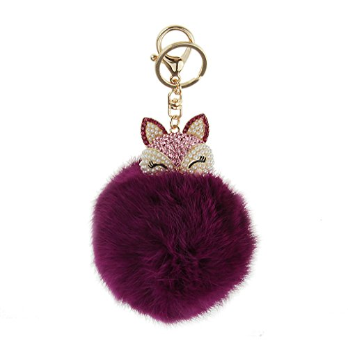 Cute Womens Ladies Girls Crystal Diamond Keychain Keyrings Real Rabbit Fur Hair Pearl Rhinestone Ball Pompoms Key Chain for Car Keys Ring Clip with Carabiners Charm or Bags Hanging Pendant - Purple