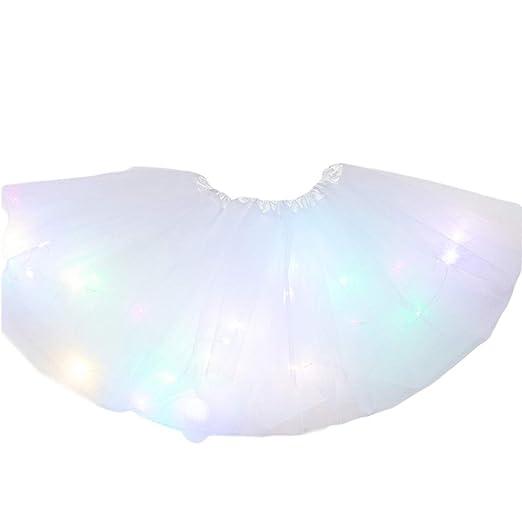 Falda de tul con luz LED de neón para mujer y niña, falda de tutú ...