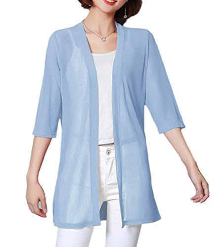 ten is heart Cardigan Thin Long-Sleeve Cape Womens Summer Office Gown Elegant (Medium, sax) cardigan gown prom wedding formal bridesmaid evening homecoming long sweater dressing bridal graduation shor