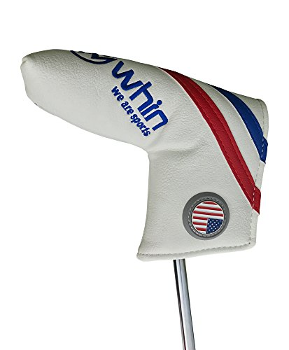 PREMIUM Golf Putter Cover By WHIN Sports With Magnetic USA Ball Marker For Blade Or Mallet Putters Fits Odyssey, Ping, TaylorMade, Scotty Cameron (Blade Putter Cover)