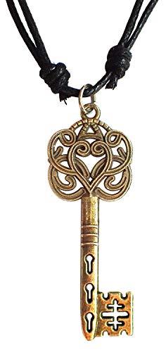 Bijoux De Ja Antique Bronze Chinese Skeleton Key Charm Pendant Adjustable Cord Necklace