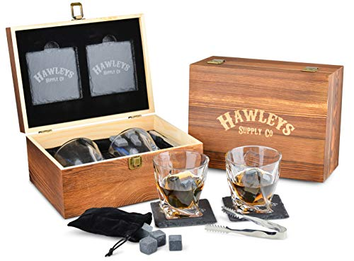 Premium Whiskey Stones Gift Set – 8 Granite Whiskey Rocks, 2 Large Whiskey Glasses, Tongs, Velvet Pouch, and 2 Coasters in an Elegant Handcrafted Wooden Box and Gift Packaging. Perfect Gifts for Men