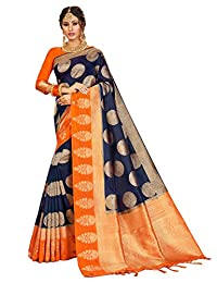Elina fashion Sarees for Women Banarasi Art Silk l Indian Rakhi Wedding Diwali Gift Sari with Unstitched Blouse
