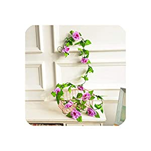 250Cm/Lot Silk Roses Ivy Vine with Green Leaves for Home Wedding Decoration Fake Leaf DIY Hanging Garland Artificial Flowers,3 10
