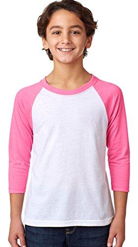 Next Level Big Boy's 3/4-Sleeve Rib-Knit T-Shirt, S, Hot Pink/ White