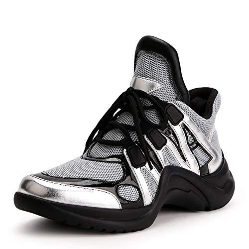 Transpirable Altura Plataforma Cordones De Casuales Mujeres Malla Con Plata Zapatilla Tacones Tela Retro Zapatos Decoración Metal Clunky gwdq7U
