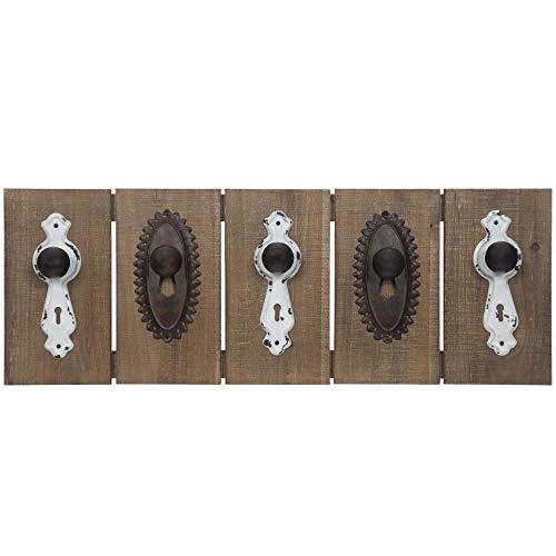 Everly Hart Collection Antique Door Knob Hook Coat Rack Wall Shelves, Natural