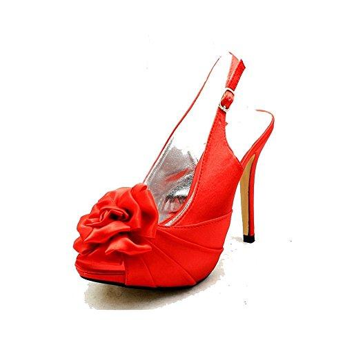 Señoras roseta peep toe honda espalda dama de honor / zapatos del partido satén rojo