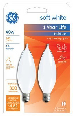 (Ge Decorative Bent Tip Light Bulb 40 W 370 Lumens Candelabra 4-1/8 In. Frosted Card / 2 by General Electric)