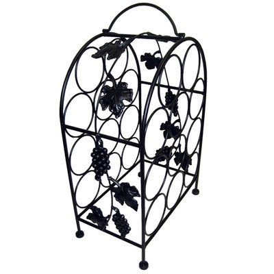 Pangaea Home and Garden BT-W057-K 11 Bottle Iron Wine Rack with Grape Vines