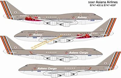 Dragon Models Asiana Airlines B747-400 HL7423 and B747-400F Cargo HL7436 (Double Pack) Diecast Aircraft, Scale 1:400