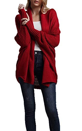 Sleeve Open Front Cardigan - HZSONNE Women's Casual Long Bat Wing Sleeve Open Front Cardigan Chunky Sweater … (Red2, One Size)