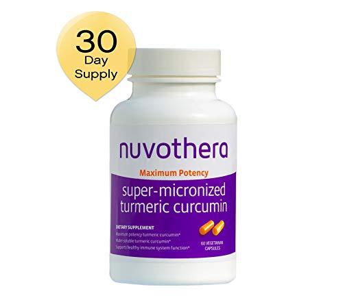 Nuvothera Super Micronized Turmeric Curcumin Supplement 60 Capsules (500 mg) Maximum Potency Whole Turmeric Root and Full Strength Curcumin-Natural Anti-Inflammatory, 2 Month Supply