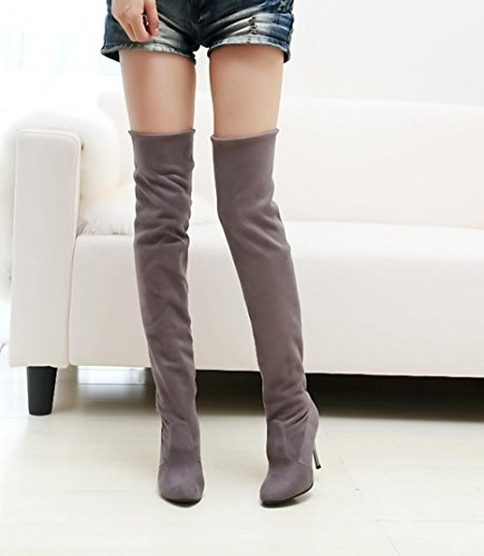 Point Toe High-Heeled Women Slim Slip-on Boots Over the Knee Fitted Single Shoes by autumn-wind Gray WrYOjw