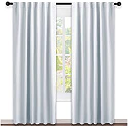 NICETOWN Living Room Darkening Curtain Drapes - (Greyish White) W52 x L84, Set of 2, Room Darkening Window Treatment Drapery Panels