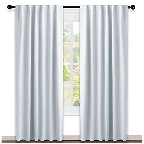 NICETOWN Living Room Darkening Curtain Drapes - (Greyish White) W52 x L84, Set of 2, Room Darkening Window Treatment Drapery - Room Blackout Curtain
