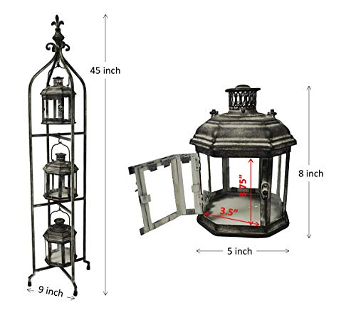 PierSurplus Metal Candle Lanterns with Stand - Three-Tier Lantern Stand for Yard Product SKU: CL221880 by PierSurplus (Image #2)