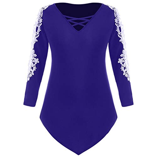 Rambling Criss Cross Sexy Women Off Shoulder Lace Top Long Sleeve Blouse Ladies Casual Tops Shirt Plus Size by Rambling (Image #5)